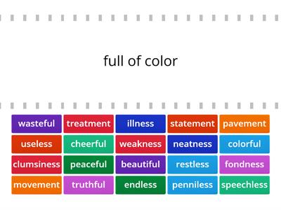 Suffixes (-ful, -less, -ment, -ness)
