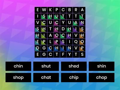 Ch and Sh Word Search
