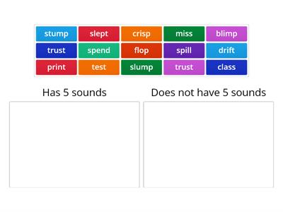 Identify words with 5 sounds Wilson step 2.4
