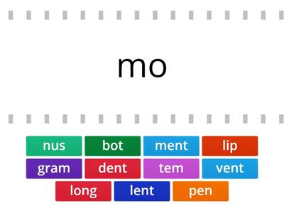 Find the match that goes with this open syllable to make a word.