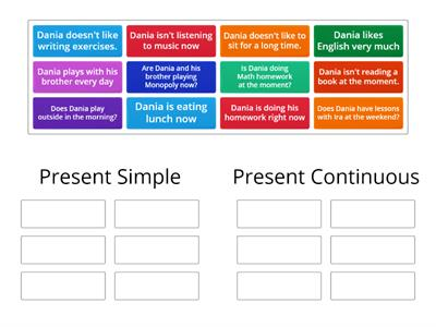Dania's homework sorting Present Simple or Continuous