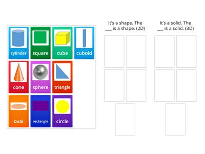 Me1a Math - Shapes and solids - sorting