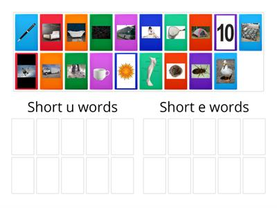 "Sort the pictures by short vowel sounds   ""e"" ""u"""