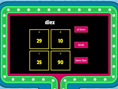 of Spanish Numbers 0-100 Gameshow