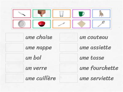 Vocabulaire - Sur la table