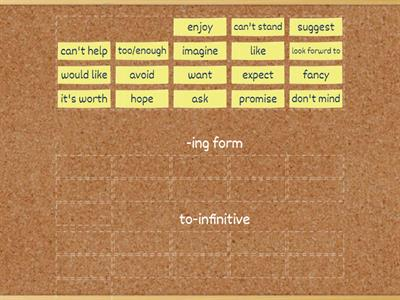 -ing form/  to-infinitive