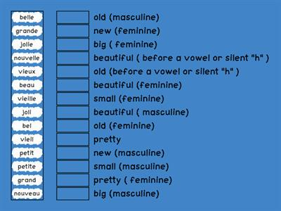 S2 French Module 3 adjectives