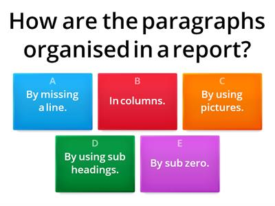 Miss Dighton - Report (Non-Chronological) Quiz