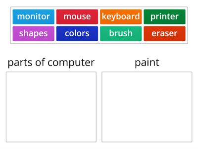 sorting with parts of computer and paint