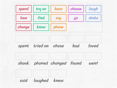 "Regular and irregular verbs from the story ""The Perfect Thing"""