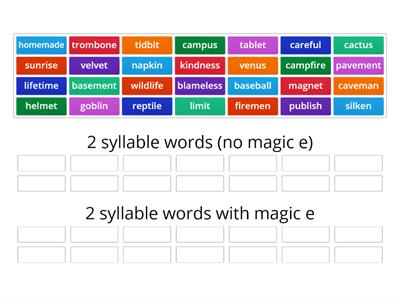 2 syllable magic e vs. no magic e (VCV and VCCV patterns)