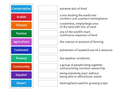 Match the words to the definitions (Geography) adv.