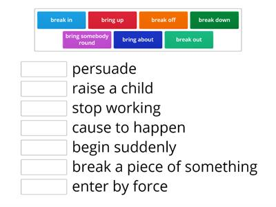 Phrasal verbs (break and bring)