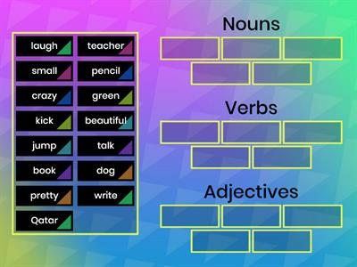 Sorting of Nouns ,Verbs & Adjectives