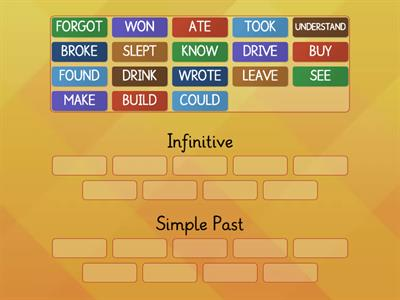 Irregular Verbs : infinitive and simple past