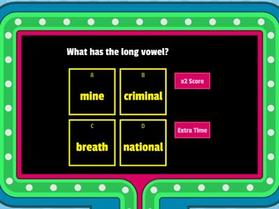 Long vowel and short vowel Game quiz