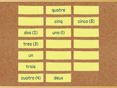 Matching Spanish and French numbers