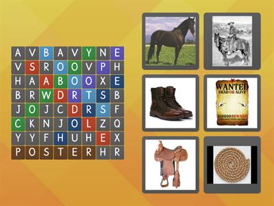 Match the Old Wild West Words with the Pictures.