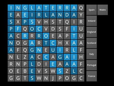 Countries Wordsearch