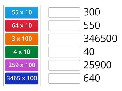 Match up multiply by 10 and 100