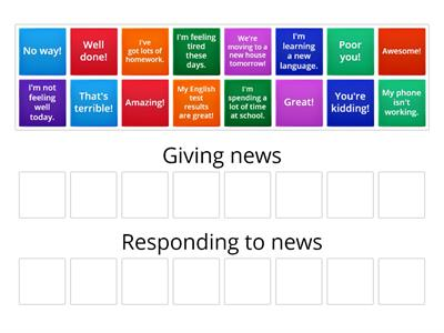 Giving and responding to the news