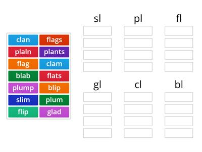 L blends word sort