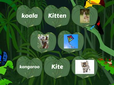 Phonics Kk- Match the words that start with the Kk sound with their pictures .