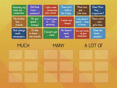 Quantifiers: MUCH-MANY-A LOT OF