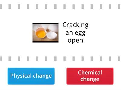 Do these actions produce a physical change or a chemical change?  Choose the correct option.
