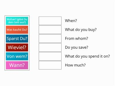 Match up  questions on POCKET MONEY for Yr 8