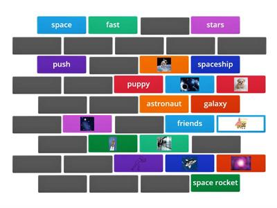 Match the pictures with the words from the space story!