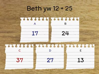 Y6 / Y7 transition general maths quiz - Cymraeg