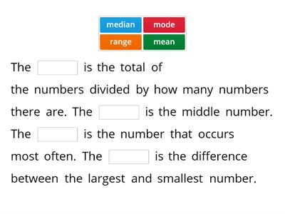 Mode, Median, Range, Mean