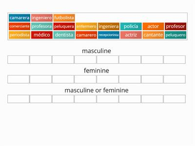 Spanish gender of professions group sort