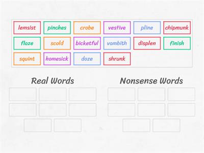 Real and Nonsense Word Sort