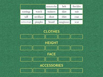 clothes - height - face - accessories