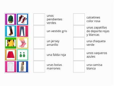 Match up ropa vocab Y9