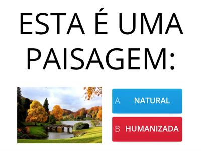 QUIZ -  PAISAGEM NATURAL E HUMANIZADA