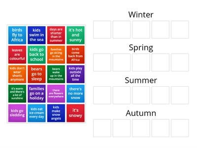Seasons and activities
