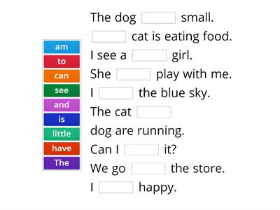 Missing Sight Word - Unit 1 & 2