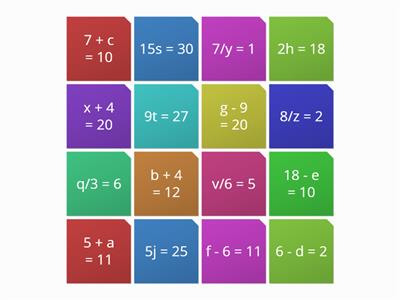 Solving Equations - One Step