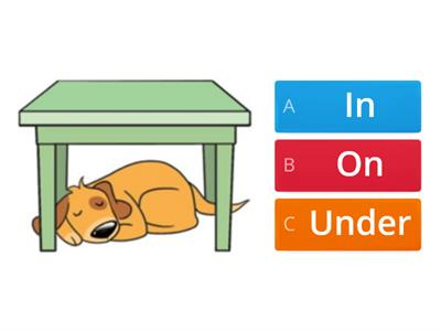 Prepositions: In, on, under