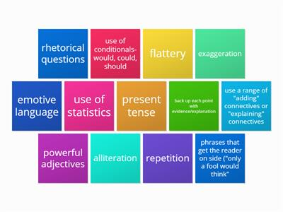 Persuasive devices checklist tiles