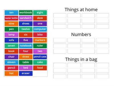 Grade 5 - Things at home / Numbers / Things in a bag