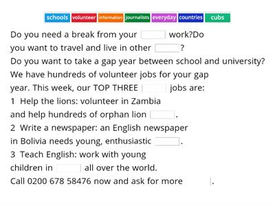 GAP YEAR VOLUNTEER WORK
