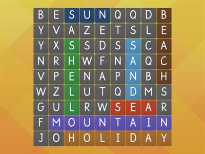 On holiday wordsearch