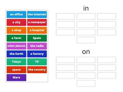 Prepositions (in - on)