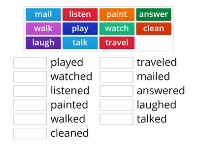 Regular Verbs in present and past