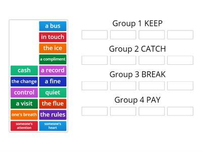 Collocations BREAK, KEEP, PAY, CATCH