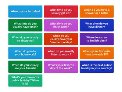 Questions. Prepositions of time
